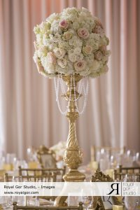 The Finishing Touch Wedding Design Centerpiece grand with with gold Cameo centerpiece and hanging pearls