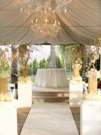 Wedding Ceremony cream and champagne