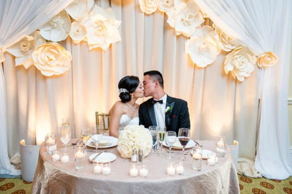 Wedding reception Hyatt Huntington Beach Sweetheart table background with paper flowers