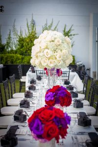 Wedding reception london hotel wedding purple red and white centerpieces