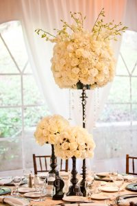 The Finishing Touch Wedding Design Centerpiece grand with cream and black and crystals