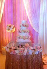 Weddin Reception Renaissance banquet hall cake table