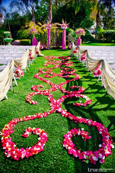 Wedding Ceremony Garden Gate Fuchsia and green 4