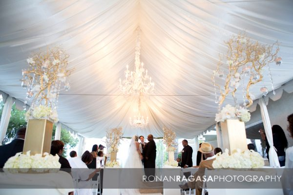 Wedding Ceremony cream and champagne ceiling drape