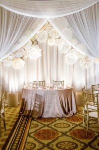 Wedding reception Hyatt Huntington Beach Sweetheart table background with paper flowers 2