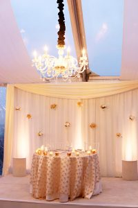 Wedding reception London Hotel cream gold and black sweetheart table