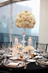 Wedding reception London Hotel cream gold and black tall centerpiece
